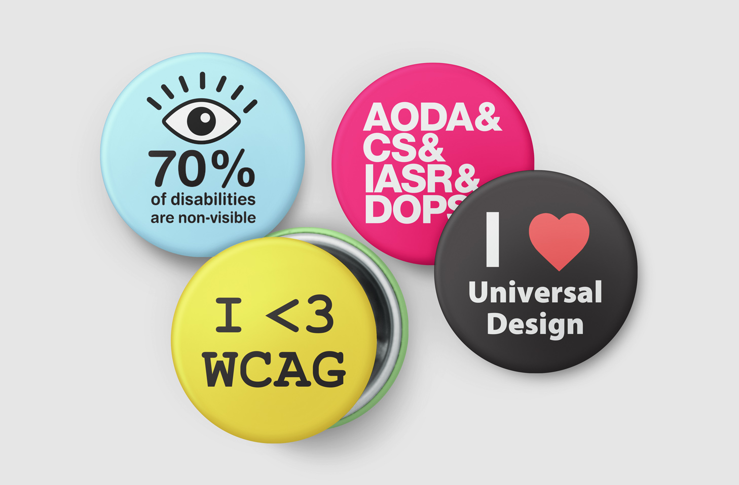 AODA promotional buttons.
