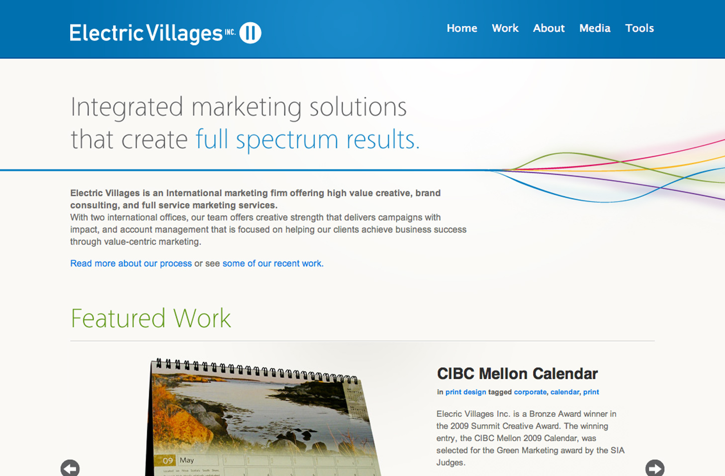 Electric Villages homepage design.