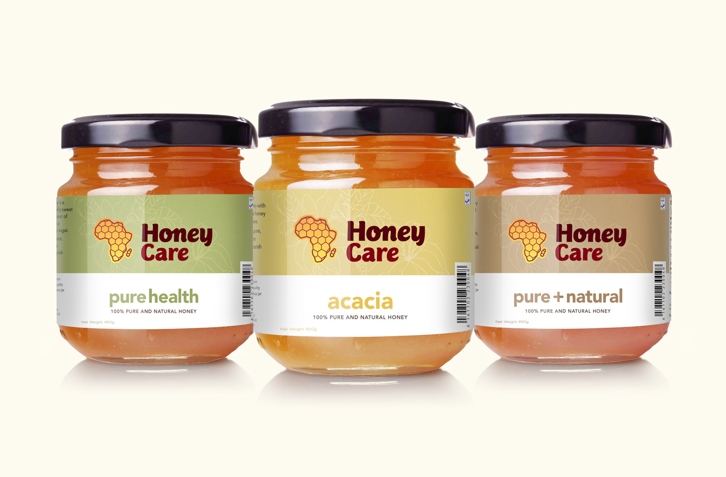 Honey packaging: pure health, acacia, and pure and natural varieties.