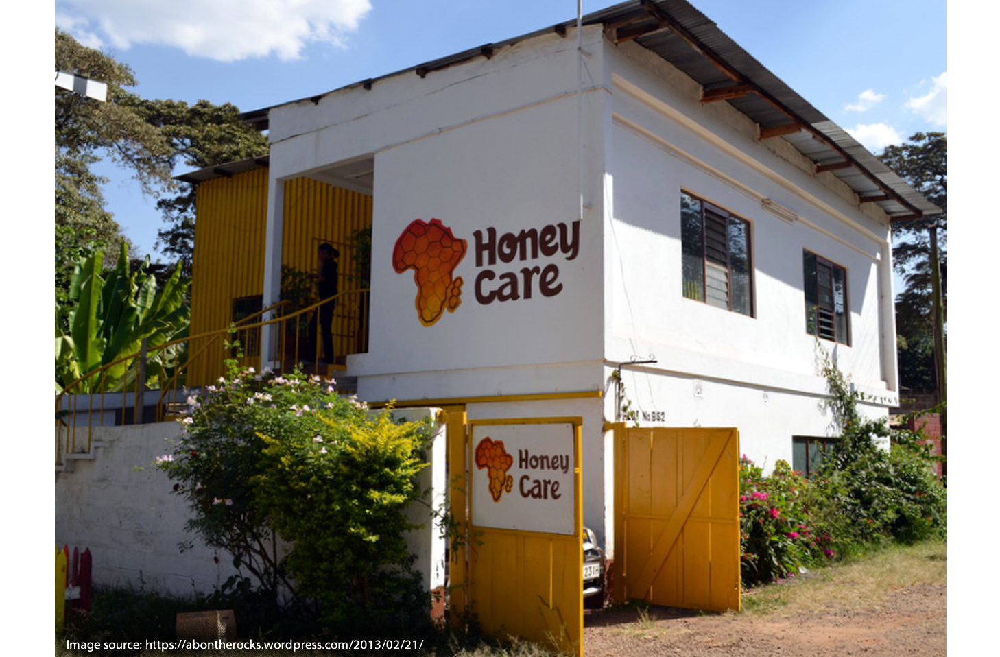 Building in Africa with painted logo.