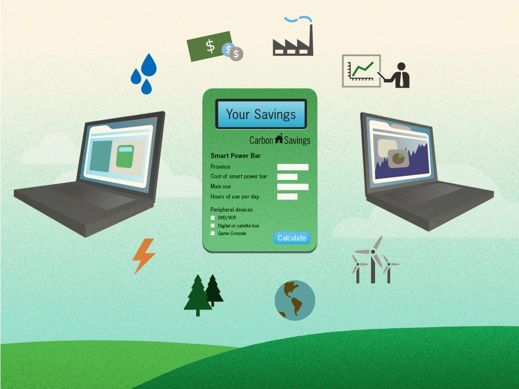Carbon savings calculator illustration.